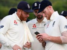 (L-R) Jonny Bairstow, Ben Stokes, Mark Wood. File Photo: @England cricket