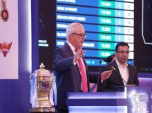 Auctioneer Hugh Meades with Mr Sanjay Gupta, Managing Director, STAR INDIA during the Indian Premier League ( IPL ) 2019 Player Auction held at the JW Marriott Resorts and Spa (Jaipur ). File photo: Sportzpics for IPL