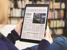 online news media, digital, tablet, newspaper