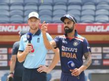 Virst Kohli and Jos Buttler during India vs England the toss. Photo: Sportzpics for BCCI