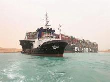 suez canal, ships, shipping, evergreen, container, transport