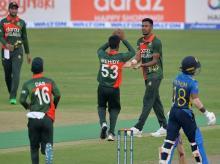 Mustafizur Rahman celebrate after taking a wicket during Bangladesh vs Sri Lanka 1st ODI. Photo: ICCC