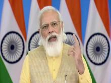 Prime Minister Narendra Modi speaks via video conferencing in Delhi after inaugurating the renovated Jallianwala Bagh Martyrs memorial on Saturday, August 28, 2021. (PTI Photo)