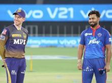 Rishabh Pant, Eoin Morgan. File Photo: Sportzpics for IPL