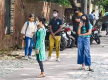 Students outside a college