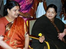 AIADMK General Secretary VK Sasikala with late Tamil Nadu chief minister J Jayalalithaa. Photo: PTI