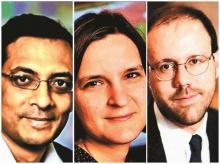 (From left) Abhijit Banerjee, Esther Duflo, and Michael Kremer, the winners of 2019 Sveriges Riksbank Prize in Economic Sciences in Memory of Alfred Nobel