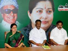 Tamil Nadu CM O Panneerselvam and AIADMK General Secretary V K Sasikala at the party MLA's meeting in which she was elected as AIADMK Legislative party leader at the party's headquarters in Chennai on Sunday. <b>(Photo: PTI)<b>