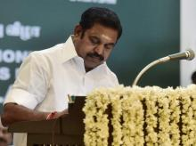 Chief Minister Edappadi K Palaniswami after taking the oath of secrecy administered by Governor CH Vidyasagar Rao during the swearing-in ceremony at Raj Bhavan in Chennai on Thursday