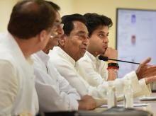 Congress Madhya Pradesh President Kamal Nath with senior Congress leader Jyotiraditya Scindia and others address a press conference, in New Delhi, on Sunday, June 03, 2018.