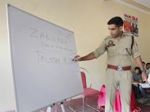 Superintendent of Police (South Jammu) Sandeep Chaudhary gives free coaching to the students preparing for various examinations including Civil Services, in Jammu on Wednesday, June 06, 2018.