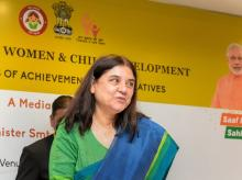 Union Minister for Women & Child Development Maneka Gandhi during a press conference regarding her ministry's achievements and initiatives, in New Delhi on Wednesday, June 06, 2018.