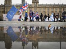 Anti Brexit demonstrators protest outside the Houses of Parliament in London