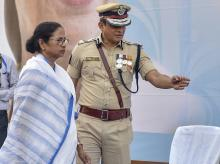West Bengal Chief Minister Mamata Banerjee with Kolkata Police commissioner Rajeev Kumar during the Joint Investiture Ceremony of West Bengal Police and Kolkata Police