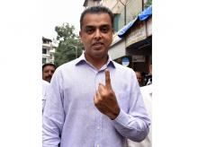 Milind Deora of congress after casting his vote during the Maharashtra Assembly elections in Mumbai