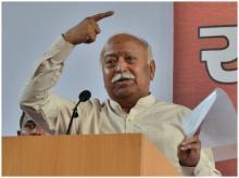 RSS Chief Mohan Bhagwat at a press conference in New Delhi/ Photo Sanjay K Sharma