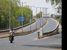 A deserted road during nationwide lockdown to slow spreading coronavirus (COVID-19) disease i