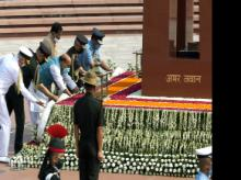 Defence Minister Rajnath Singh, Minister of State for Defence Shripad Naik, Chief of Defence Staff General Bipin Rawat, and three services chiefs laying wreath to the fallen heroes at National War Memorial on the occasion of 21st anniversary of Karg