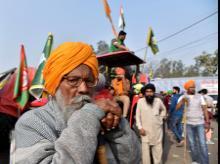 Farmers protest against farm laws at Singhu Border in New Delhi