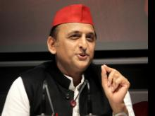 Samajwadi Party National President Akhilesh Yadav addresses media during a press conference at party office in Lucknow