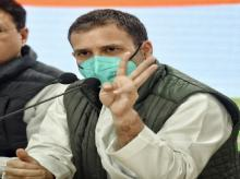 Congress leader Rahul Gandhi addressing media at AICC HQ in New Delhi